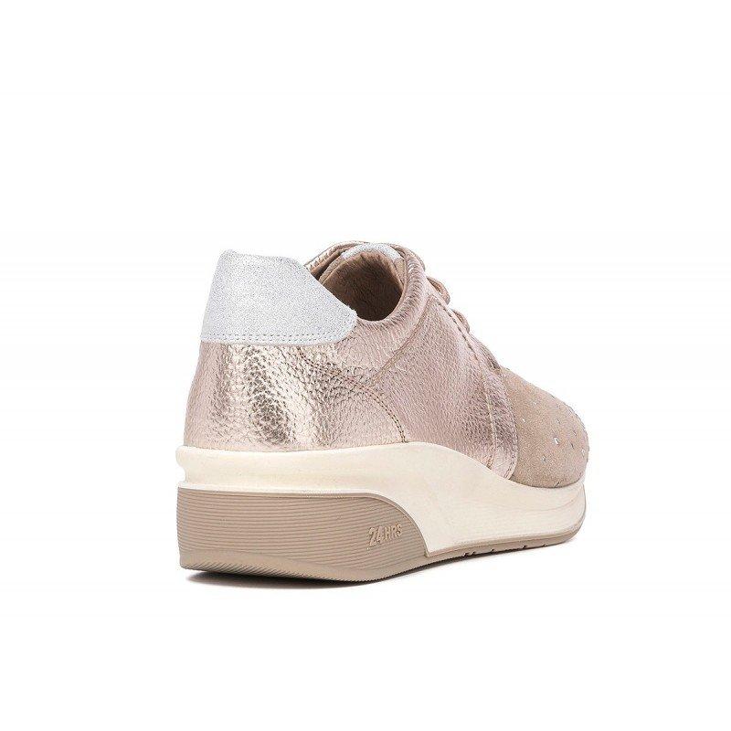 Elegantes zapatos mujer casuales 24 Hrs con cuña piel combinada taupe. 803520548e7