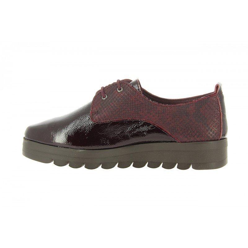 Zapatos oxford de cordones mujer 24 Hrs burdeos de piel combinada . f0540fb7b7b3