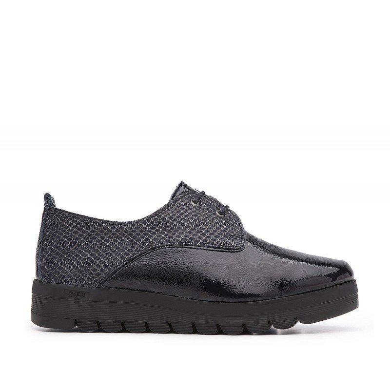 Zapatos oxford de cordones mujer 24 Hrs azul de piel combinada . d0f201b6a519