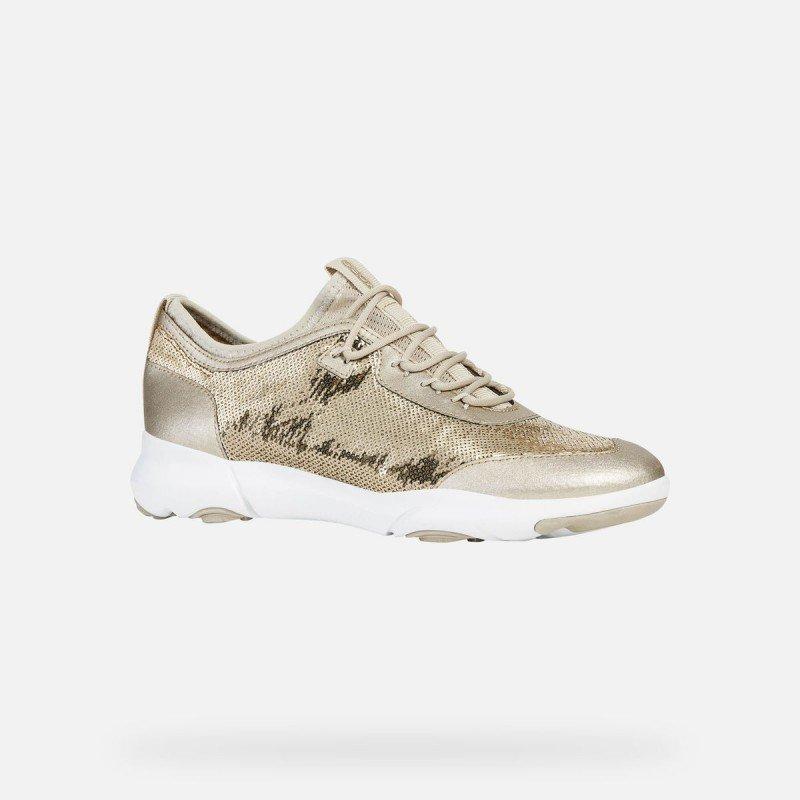 zapatillas geox mujer doradas y blancas