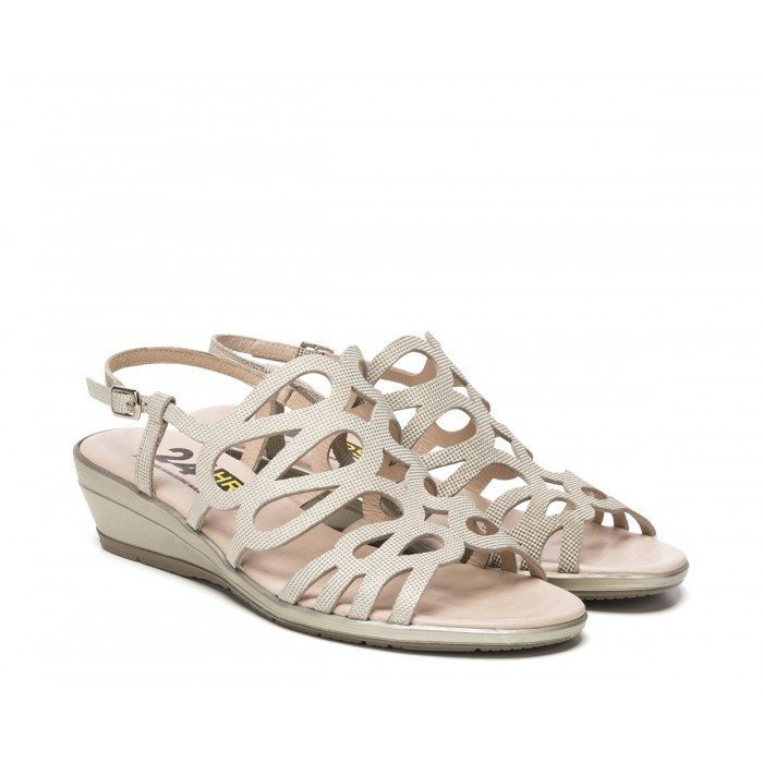 5ff6a3a78c0d Hrs Beige Metalizada 24 24075 Velcro Sandalias Cómodas Mujer Con IHDE29