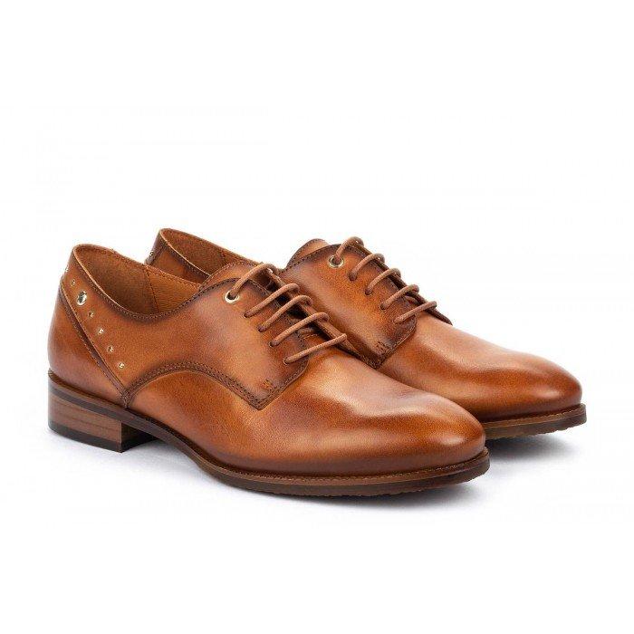 Zapatos Tacon Bajo Mujer Pikolinos Royal W4D-4904 Cuero Brandy