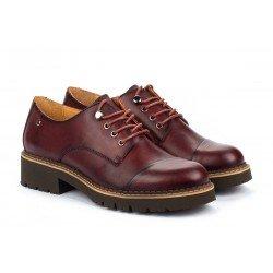 Zapatos Tacon Bajo Mujer Pikolinos Vicar W0V-4900 Burdeos Garnet
