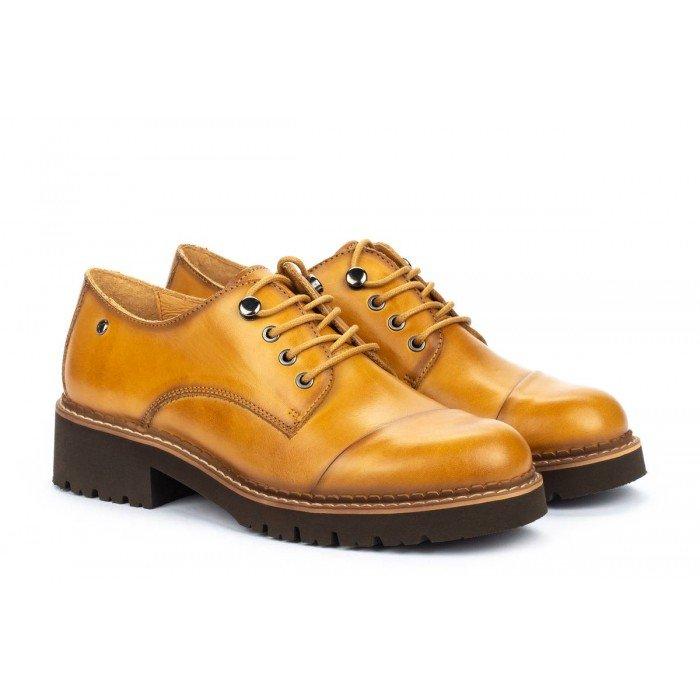 Zapatos Tacon Bajo Mujer Pikolinos Vicar W0V-4900 Amarillo Mostaza
