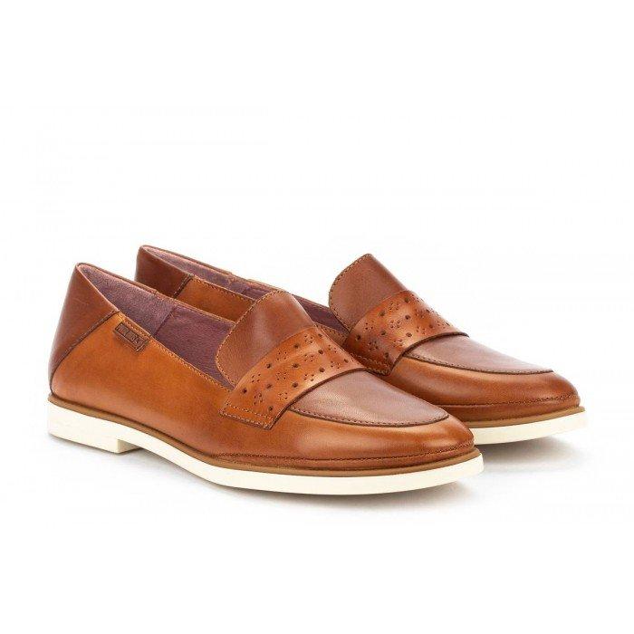 Zapatos Tacon Bajo Mujer Pikolinos Santorini W3V-3708C1 Cuero Brandy