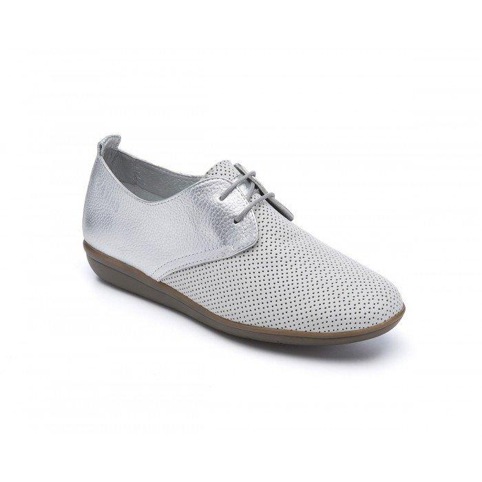 Zapatos Blucher Mujer 24 Hrs 24409 Gris Plata