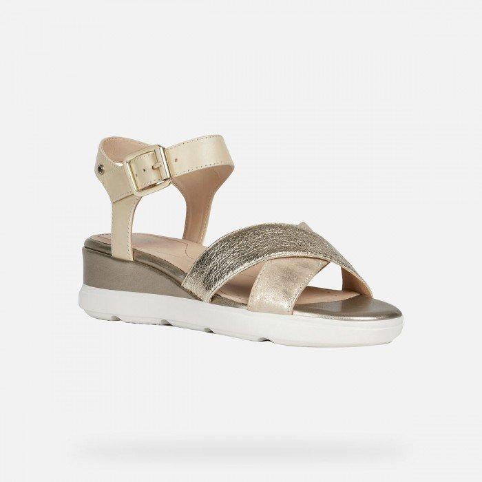 Sandalias Mujer Geox D Pisa D Oro Metalizado