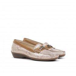 Zapatos Mocasines Mujer Fluchos Aduna F0808 Beige coñac